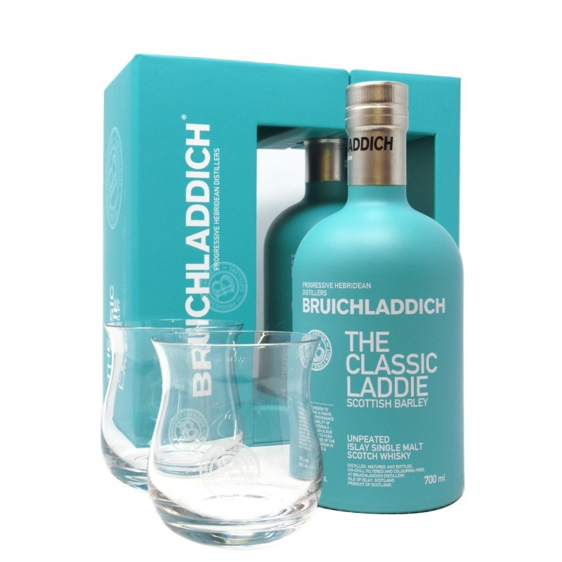 Whisky The Classic Laddie Scottish Barley Bruichladdich Gift Pack 2 Bicchieri