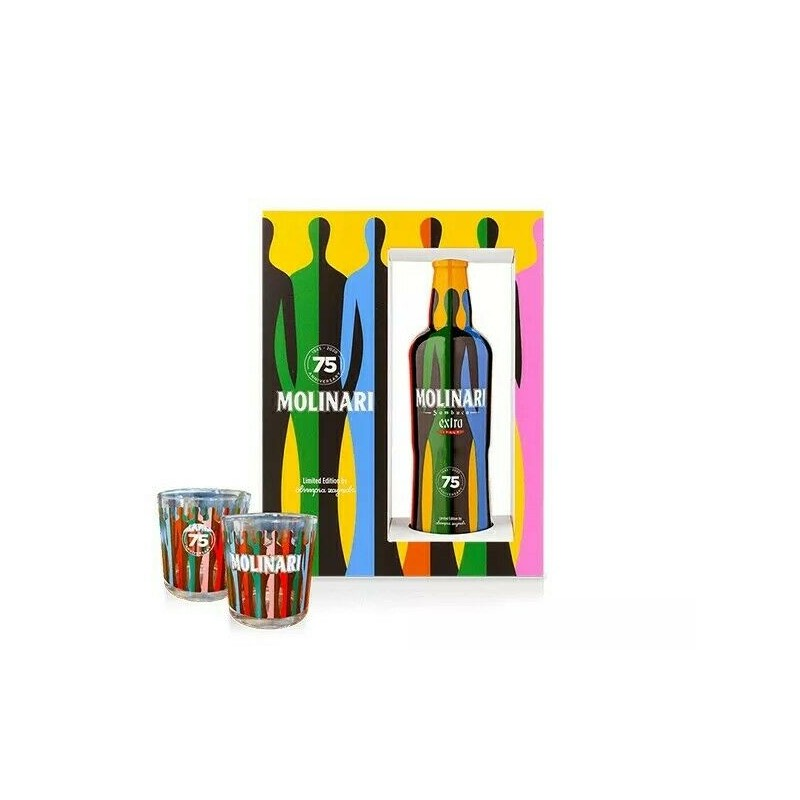 Sambuca Extra Molinari Limited Edition Pack 2 Bicchieri